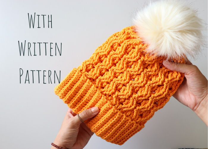 Crochet An Easy Cable Hat / With Written Pattern