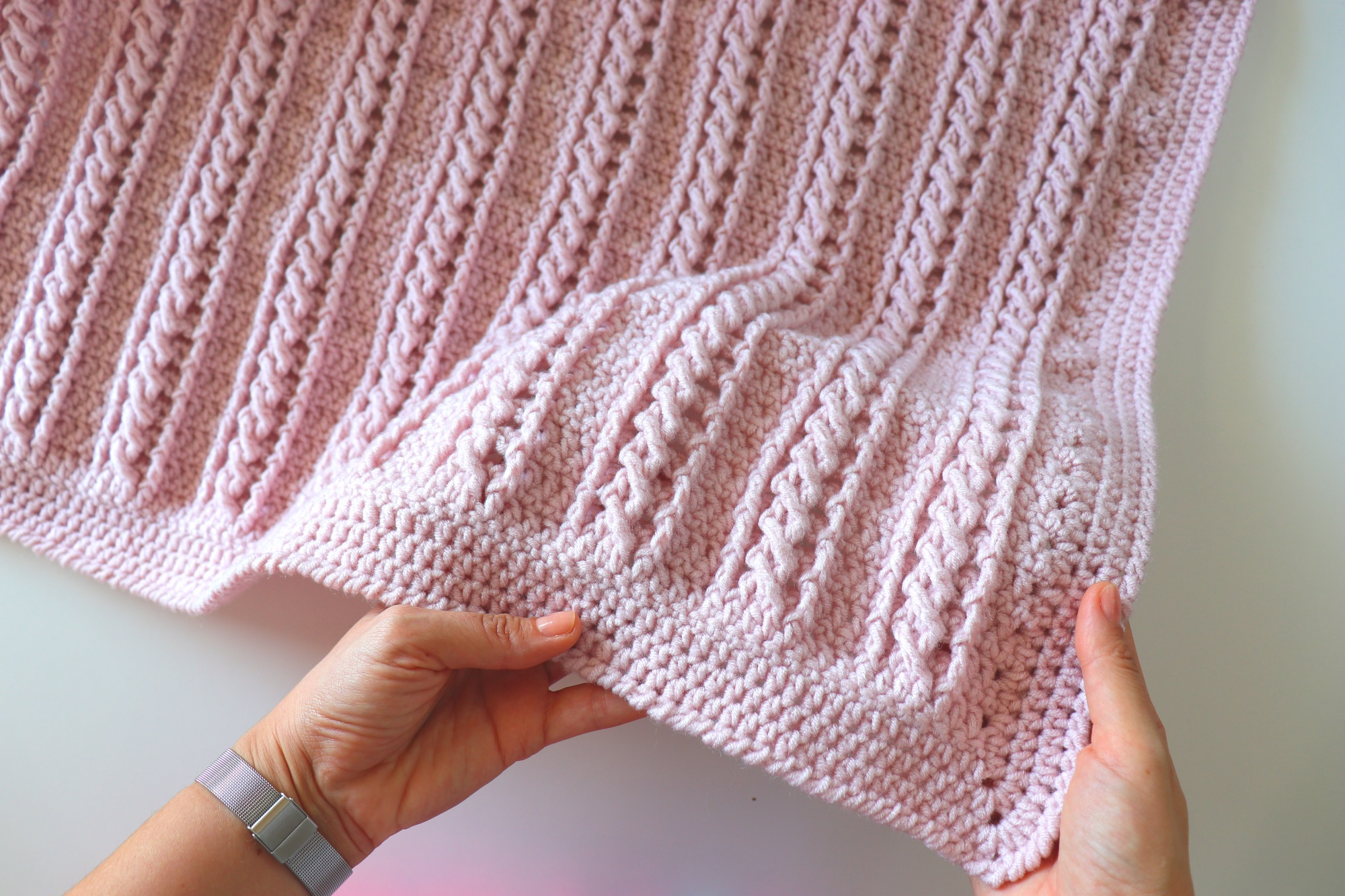 Crochet Easy Beginner Cable Blanket Tutorial With Written Pattern