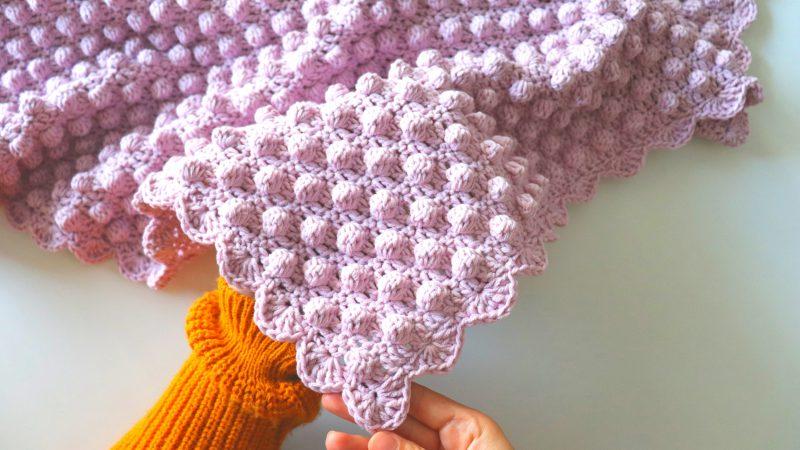 Crochet Bobble Stitch Blanket With Written Pattern