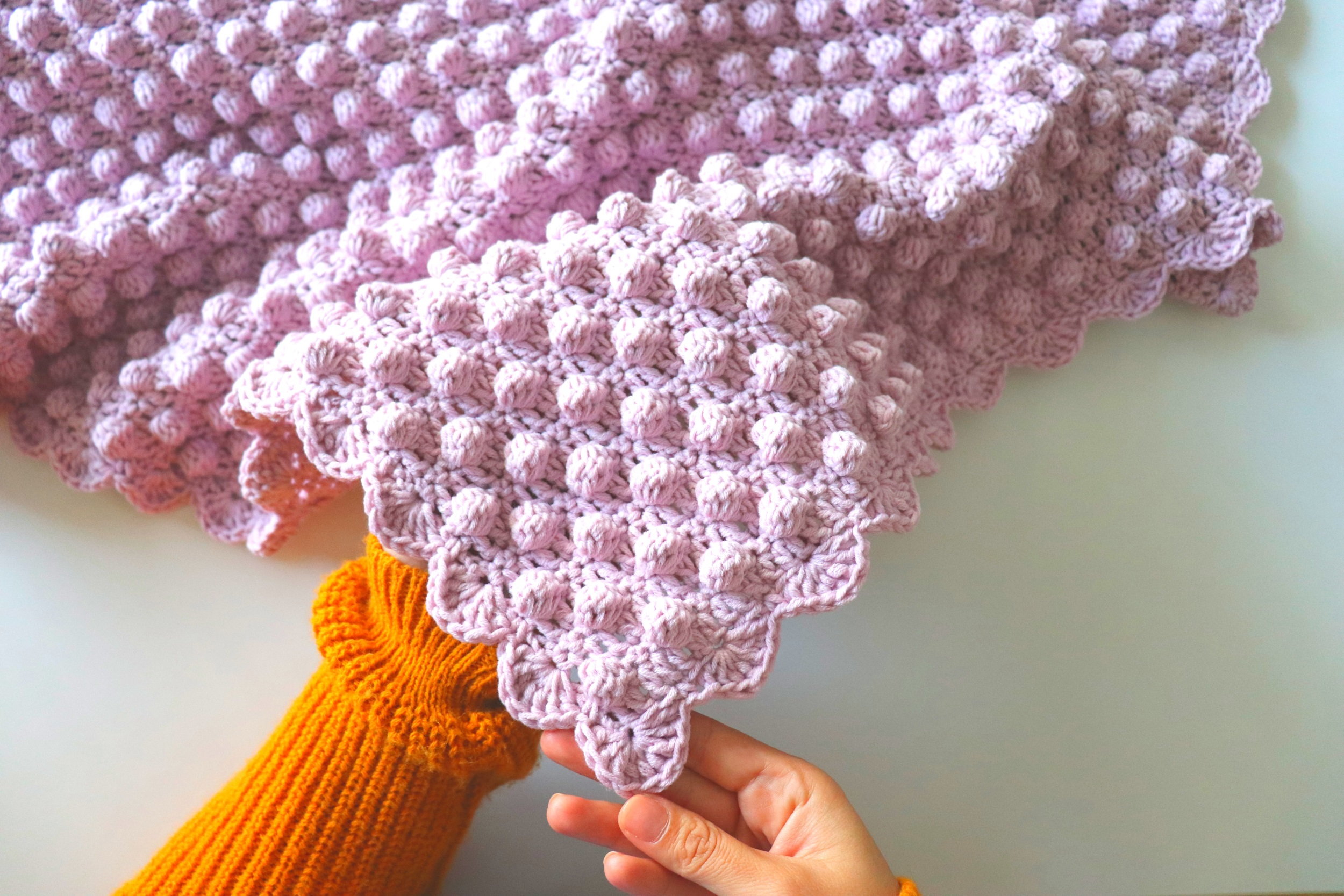Crochet Bobble Stitch Blanket With Written Pattern