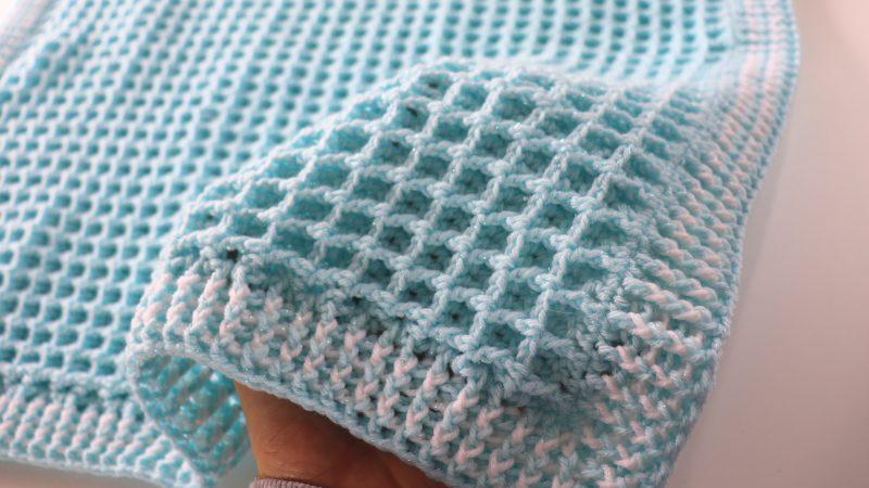 Crochet Easy Waffle Baby Blanket