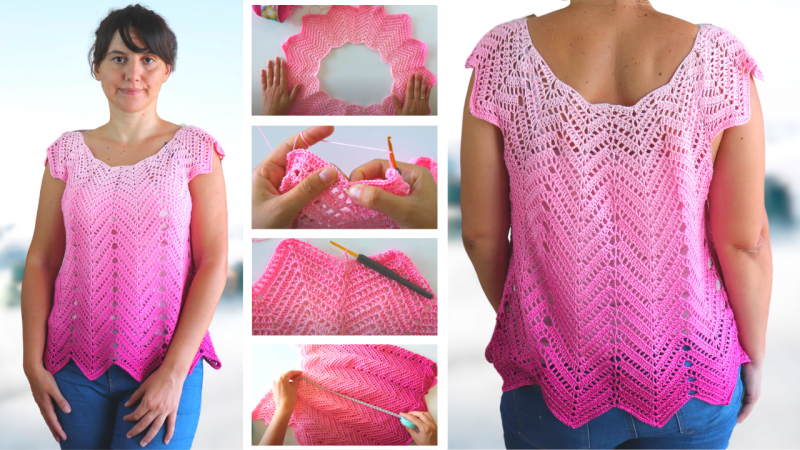 Crochet Chevron Summer Top With Written Pattern