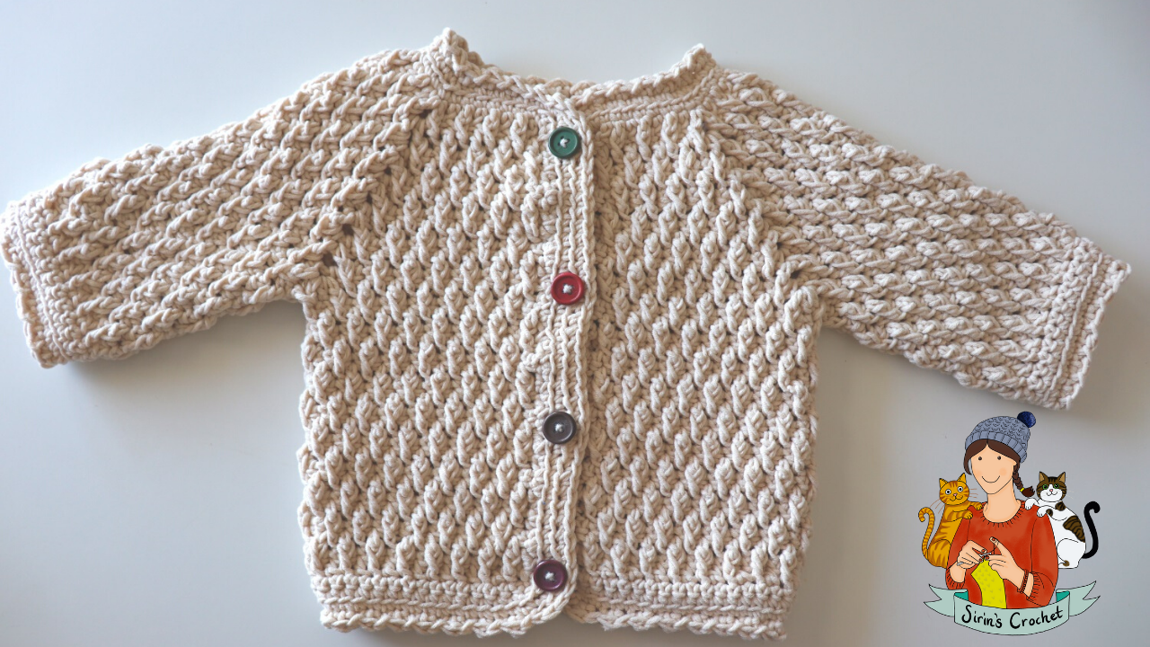 Crochet Easy Alpine Stitch Baby Cardigan (6-12 months)
