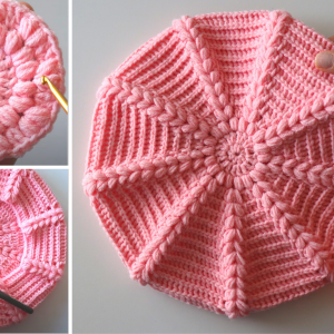 Crochet An Easy Beret Hat With Written Pattern