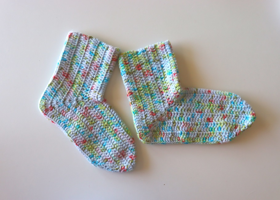 Crochet Beginner Socks With Written Pattern