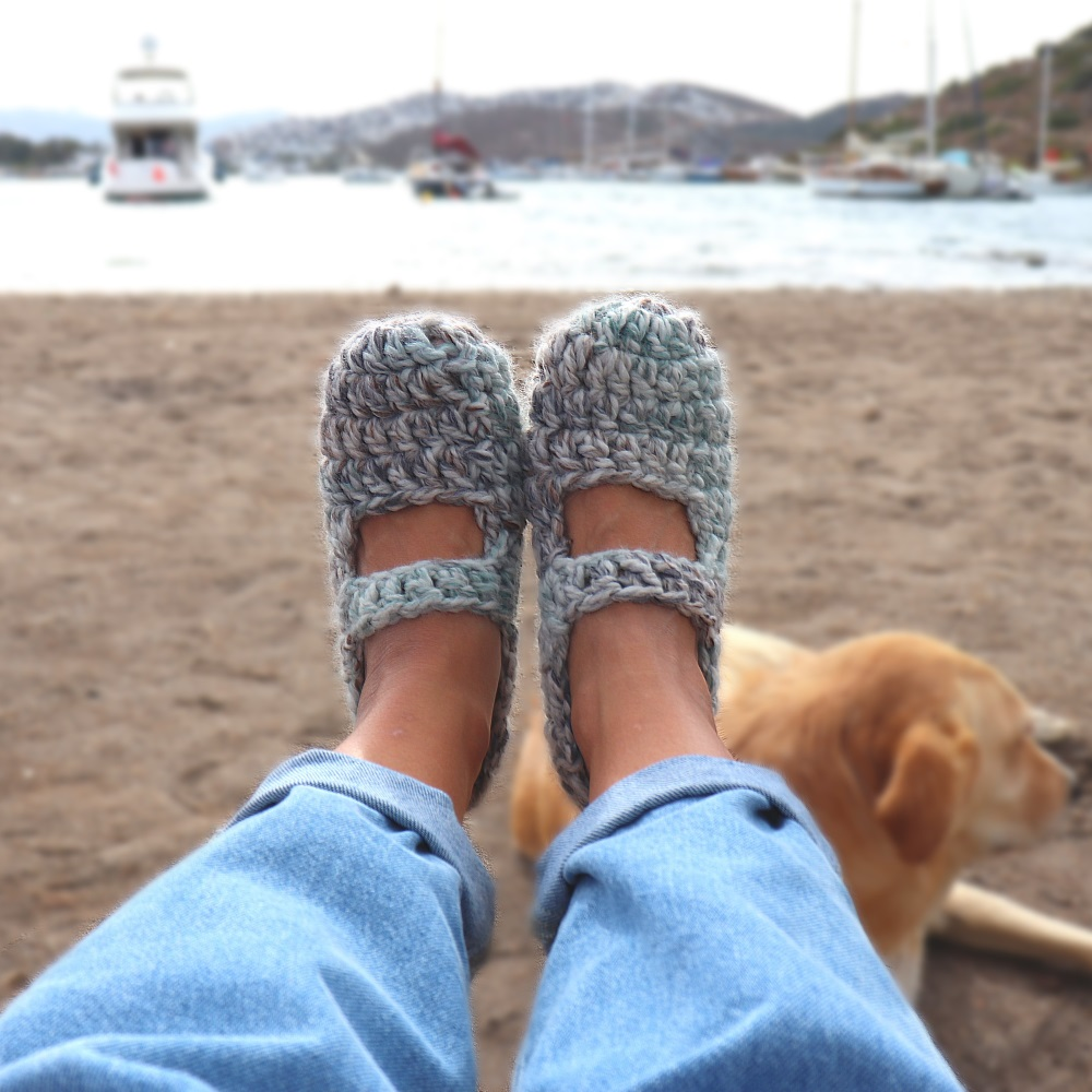 Crochet One Skein Slippers With Written Pattern