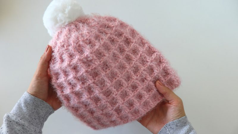 Crochet Beginner Waffle Hat / Written Pattern Incl.