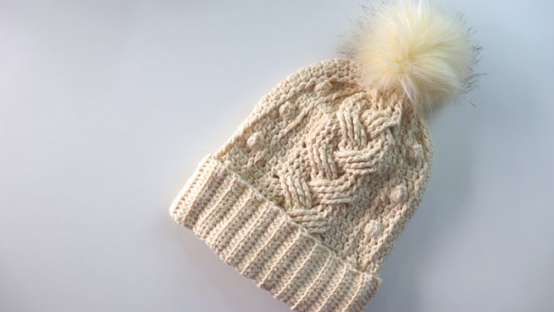 Crochet Braided Cable Beanie With Written Pattern
