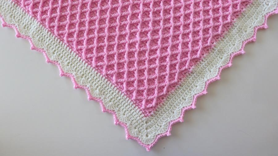 Crochet Elegant Diamond Blanket Written Pattern