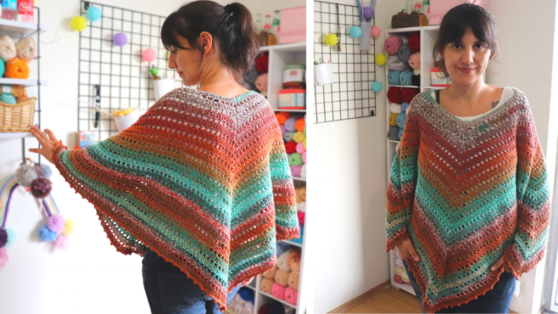 Crochet Easiest Poncho Written Pattern