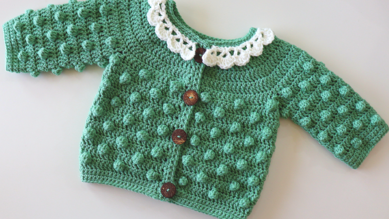 Crochet Baby Cardigan With Bobble Stitch