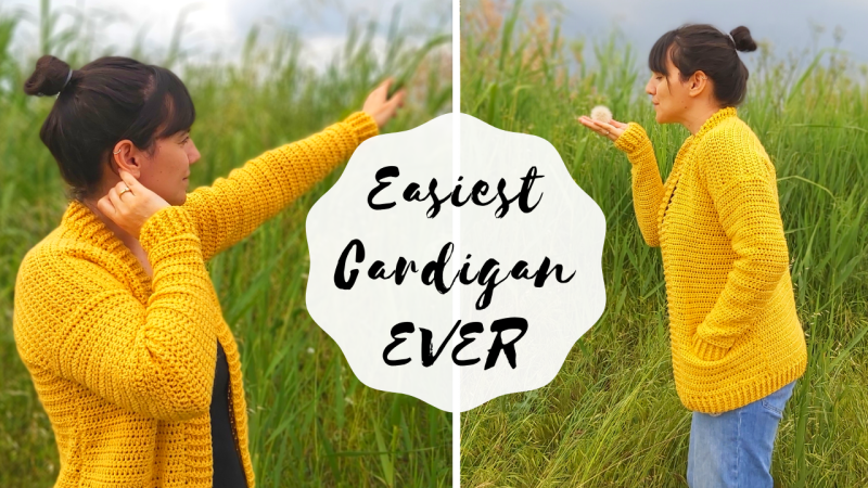 Crochet Beginner Cardigan With Pocket Written Pattern