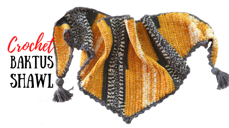 Crochet Easy Baktus Shawl With Written Pattern