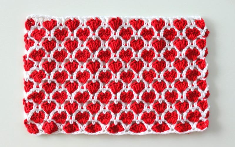 Crochet Cute Hearts Stitch Written Pattern