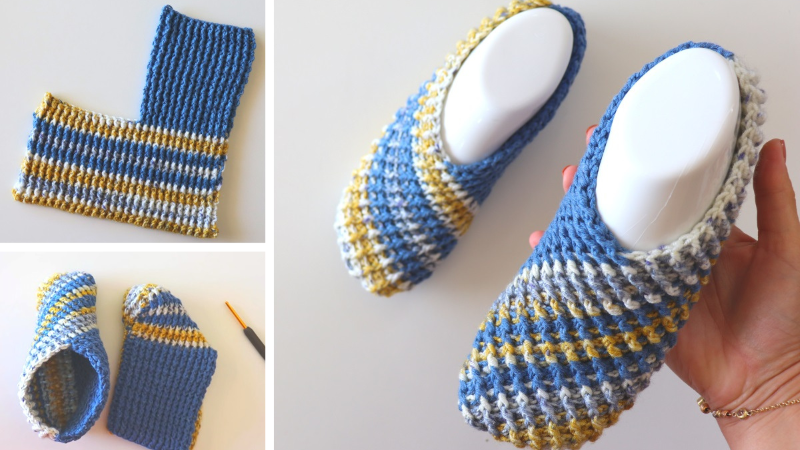 Crochet Easy One Piece Slippers Written Pattern