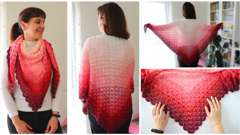 Crochet Elegant Triangle Shawl Written Pattern